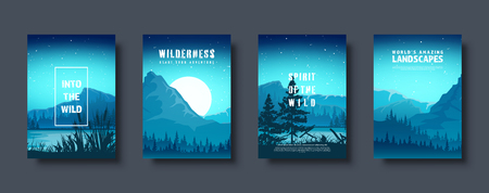 Mountains and forest. Wild nature landscape. Travel and adventure.Panorama. Into the woods. Horizon line.Trees,fog. Vector illustration Standard-Bild - 119913172