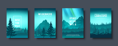 Mountains and forest. Wild nature landscape. Travel and adventure.Panorama. Into the woods. Horizon line.Trees,fog. Vector illustration Standard-Bild - 119913178