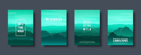 Mountains and forest. Wild nature landscape. Travel and adventure.Panorama. Into the woods. Horizon line.Trees,fog. Vector illustration Standard-Bild - 119914213