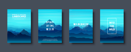 Mountains and forest. Wild nature landscape. Travel and adventure.Panorama. Into the woods. Horizon line.Trees,fog. Vector illustration Standard-Bild - 119914220