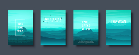 Mountains and forest. Wild nature landscape. Travel and adventure.Panorama. Into the woods. Horizon line.Trees,fog. Vector illustration Standard-Bild - 119914230