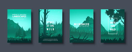 Mountains and forest. Wild nature landscape. Travel and adventure.Panorama. Into the woods. Horizon line.Trees,fog. Vector illustration Standard-Bild - 119914234