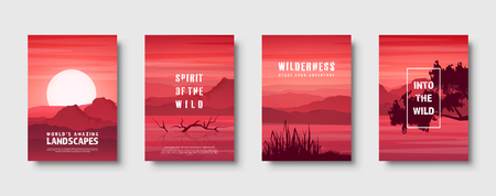 Mountains and forest. Wild nature landscape. Travel and adventure.Panorama. Into the woods. Horizon line.Trees,fog. Vector illustration Standard-Bild - 119914235