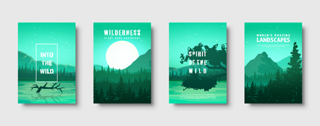 Mountains and forest. Wild nature landscape. Travel and adventure.Panorama. Into the woods. Horizon line.Trees,fog. Vector illustration Standard-Bild - 119914246