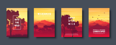 Mountains and forest. Wild nature landscape. Travel and adventure.Panorama. Into the woods. Horizon line.Trees,fog. Vector illustration Standard-Bild - 119914247