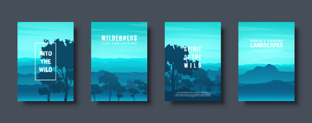 Mountains and forest. Wild nature landscape. Travel and adventure.Panorama. Into the woods. Horizon line.Trees,fog. Vector illustration Standard-Bild - 119914250