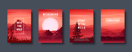 Mountains and forest. Wild nature landscape. Travel and adventure.Panorama. Into the woods. Horizon line.Trees,fog. Vector illustration Standard-Bild - 119914254