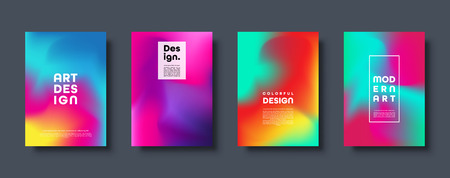 Colorful modern abstract background with neon red, green, blue, purple, yellow and pink gradient. Dynamic color flow poster, banner. Vector illustration Standard-Bild - 119914258