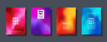 Fondo abstracto moderno colorido con degradado de neón rojo, verde, azul, morado, amarillo y rosa. Cartel de flujo de color dinámico, banner. Ilustración vectorial