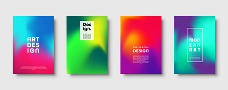 Colorful modern abstract background with neon red, green, blue, purple, yellow and pink gradient. Dynamic color flow poster, banner. Vector illustration  イラスト・ベクター素材