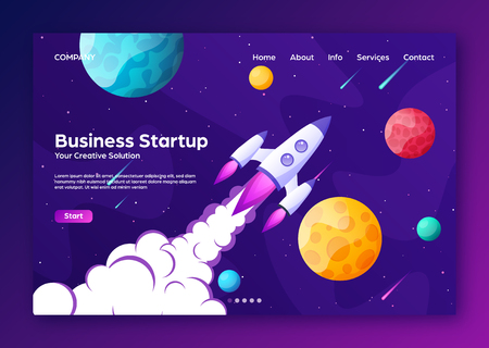 Website landing home page with rocket. Business project startup and development modern flat background. Mobile web design template. Space travel on a rocketship. Vector illustration. Standard-Bild - 119914324