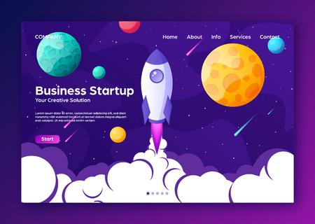 Page d'accueil du site Web avec fusée. Démarrage et développement de projet d'entreprise fond plat moderne. Modèle de conception de sites Web mobiles. Voyage dans l'espace sur une fusée. Illustration vectorielle.