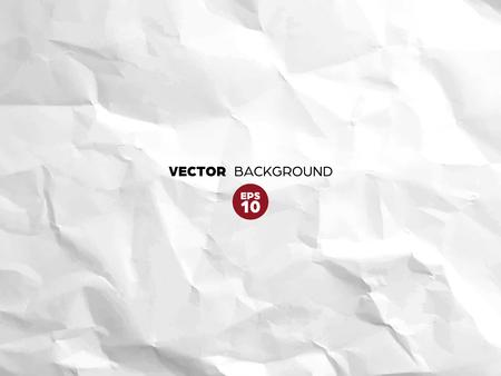 Patrón de textura de papel blanco arrugado. Viejo espacio en blanco áspero del grunge. Fondo abstracto de vector. Ilustración de vector