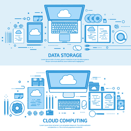 Cloud computing, media data server. Web storage. Digital technology. Internet connection. Flat blue outline background. Line art vector illustration.
