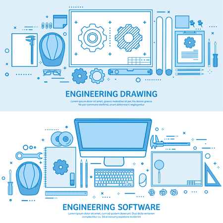 Engineering and architecture. Drawing construction. Architectural project. Design sketching. Workspace with tools. Planning building. Flat blue outline background. Line art vector illustration. Standard-Bild - 120429618