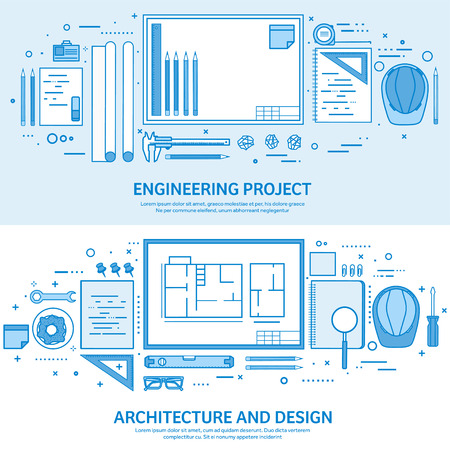Engineering and architecture. Drawing construction. Architectural project. Design sketching. Workspace with tools. Planning building. Flat blue outline background. Line art vector illustration.