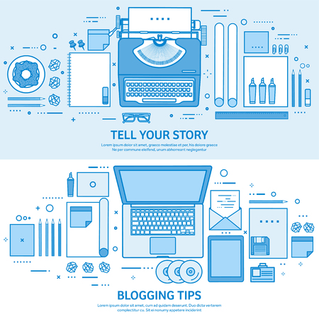 Typewriter and laptop. Tell your story. Author. Blogging platform. Flat blue outline background. Line art vector illustration. Çizim