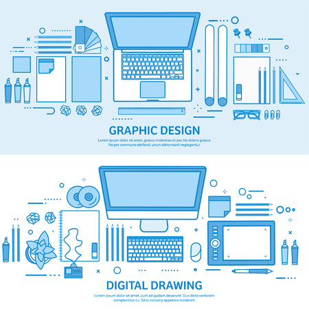 Graphic web design. Drawing and painting. User interface UI. Landing page creation and development. Flat blue outline background. Line art vector illustration. Standard-Bild - 120429621