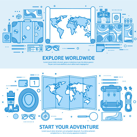 Travel and tourism. World map, earth globe. Trip tour journey, summer holidays. Traveling, exploring worldwide. Adventure expedition. Flat blue outline background. Line art vector illustration. Standard-Bild - 120429622