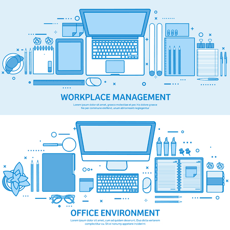 Workplace with computer, laptop, documents, papers, notepad and pencil. Office work, workspace management. Flat blue outline background. Line art vector illustration. Standard-Bild - 120429624