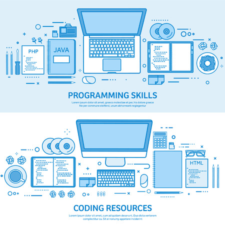 Programming, coding and SEO. Web development. Search engine optimization. Code, hardware and software. Flat blue outline background. Line art vector illustration Standard-Bild - 120429625