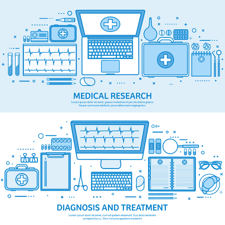 Health care, first aid, cardiology research. Medicine study and chemical engineering, pharmacy. Flat blue outline background. Line art vector illustration Standard-Bild - 120429626