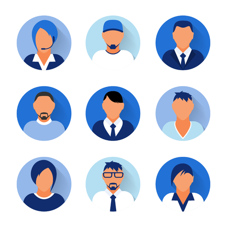 Flat modern blue minimal avatar icons. Business concept, global communication. Web site user profile. Social media, network elements Standard-Bild - 120429628