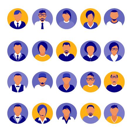Flat modern purple minimal avatar icons. Business concept, global communication. Web site user profile. Social media, network elements Standard-Bild - 120429629