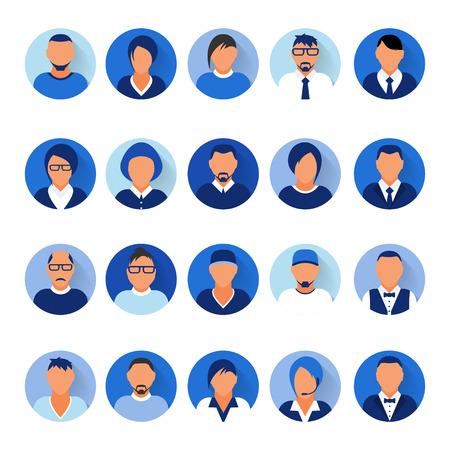 Flat modern blue minimal avatar icons. Business concept, global communication. Web site user profile. Social media, network elements Standard-Bild - 120429630