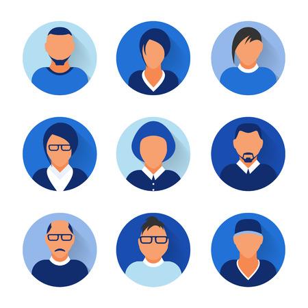 Flat modern blue minimal avatar icons. Business concept, global communication. Web site user profile. Social media, network elements Standard-Bild - 120429631