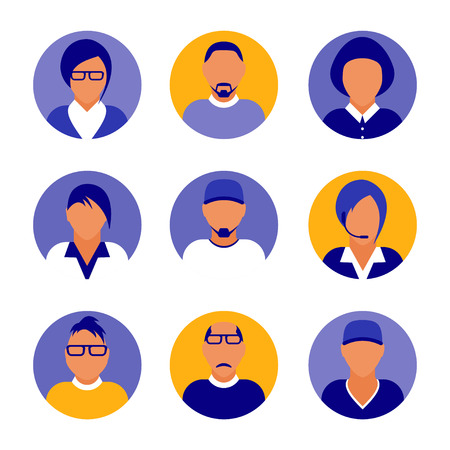 Flat modern purple minimal avatar icons. Business concept, global communication. Web site user profile. Social media, network elements Standard-Bild - 120429632