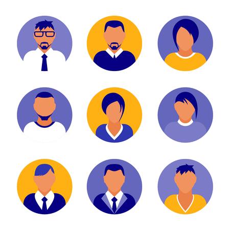 Flat modern purple minimal avatar icons. Business concept, global communication. Web site user profile. Social media, network elements Standard-Bild - 120429633