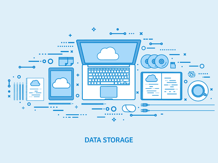 Cloud computing, media data server. Web storage. Digital technology. Internet connection. Flat blue outline background. Line art vector illustration. Standard-Bild - 120429634