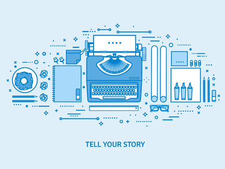 Typewriter on a table. Tell your story. Author. Blogging platform. Flat blue outline background. Line art vector illustration  イラスト・ベクター素材
