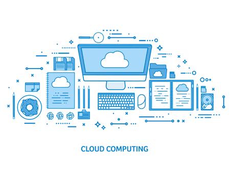 Cloud computing, media data server. Web storage. Digital technology. Internet connection. Flat blue outline background. Line art vector illustration. Standard-Bild - 120429635
