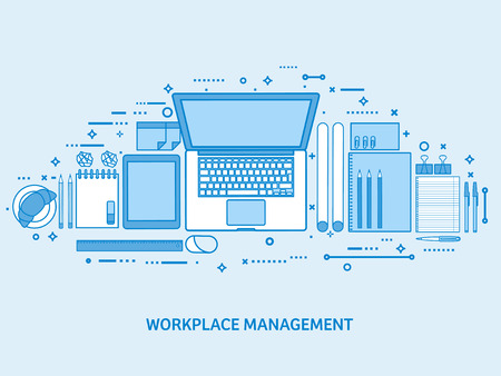 Workplace with computer, laptop, documents, papers, notepad and pencil. Office work, workspace management. Flat blue outline background. Line art vector illustration. Standard-Bild - 120429636