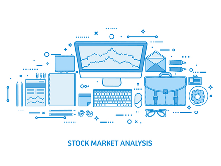 Market trade business. Trading platform account. Make money online. Analysis and investing. Flat blue outline background. Line art vector illustration. Standard-Bild - 120429657