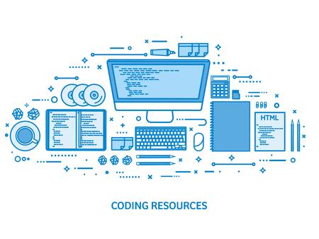 Programming, coding and SEO. Web development. Search engine optimization. Code, hardware and software. Flat blue outline background. Line art vector illustration Standard-Bild - 120161842