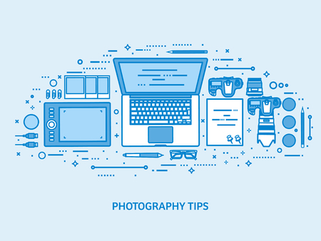 Photography tools, photo editing and photoshooting. Digital photocamera with lens. Flat blue outline background. Line art vector illustration
