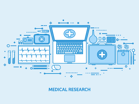 Health care, first aid, cardiology research. Medicine study and chemical engineering, pharmacy. Flat blue outline background. Line art vector illustration. Stock Illustratie