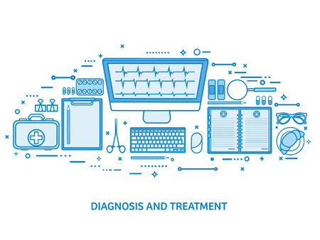 Health care, first aid, cardiology research. Medicine study and chemical engineering, pharmacy. Flat blue outline background. Line art vector illustration. Illusztráció