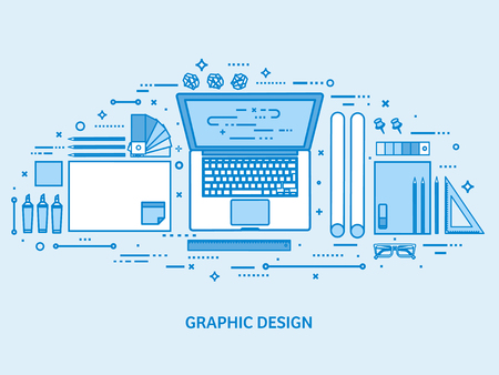 Graphic web design. Drawing and painting. User interface UI. Landing page creation and development. Flat blue outline background. Line art vector illustration. Standard-Bild - 120429680
