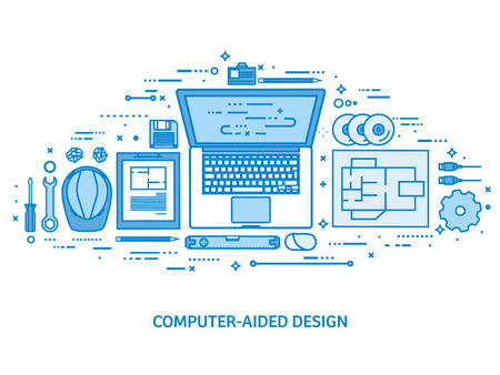Engineering and architecture. Drawing construction. Architectural project. Design sketching. Workspace with tools. Planning building. Flat blue outline background. Line art vector illustration 版權商用圖片 - 124023865