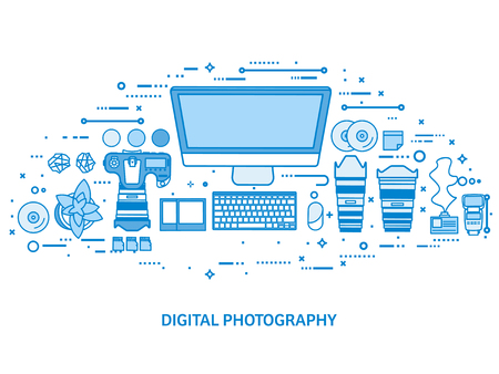 Photography tools, photo editing and photoshooting. Digital photocamera with lens. Flat blue outline background. Line art vector illustration.