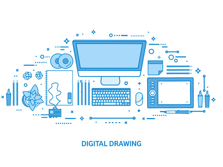 Graphic web design. Drawing and painting. User interface UI. Landing page creation and development. Flat blue outline background. Line art vector illustration. Standard-Bild - 120429682