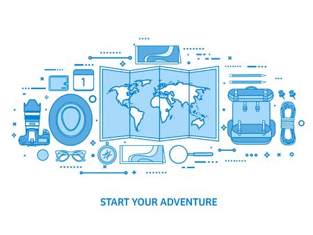 Travel and tourism. World map, earth globe. Trip tour journey, summer holidays. Traveling, exploring worldwide. Adventure expedition. Flat blue outline background. Line art vector illustration. Standard-Bild - 120429684