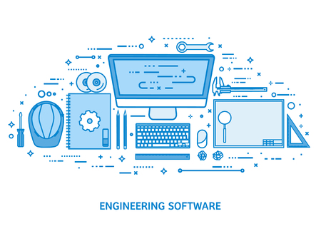 Engineering and architecture. Drawing construction. Architectural project. Design sketching. Workspace with tools. Planning building. Flat blue outline background. Line art vector illustration
