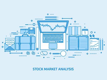 Market trade business. Trading platform account. Make money online. Analysis and investing. Flat blue outline background. Line art vector illustration