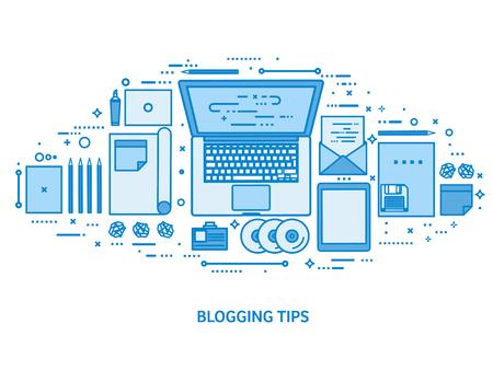 Laptop on a table. Tell your story. Author. Blogging platform. Flat blue outline background. Line art vector illustration