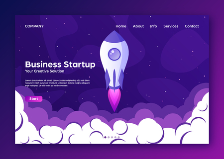 Website landing home page with rocket. Business project startup and development modern flat background. Mobile web design template. Space travel on a rocketship. Vector illustration